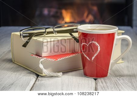 Hot Tea By The Fireplace