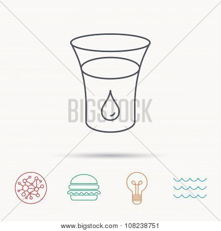 Glass of water icon. Drop sign.