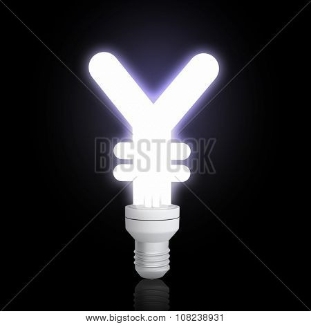 Glowing light bulb with yen sign on dark background