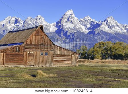 Vintage barn and Grand Teton and the Teton Range, Grand Teton National Park, Wyoming