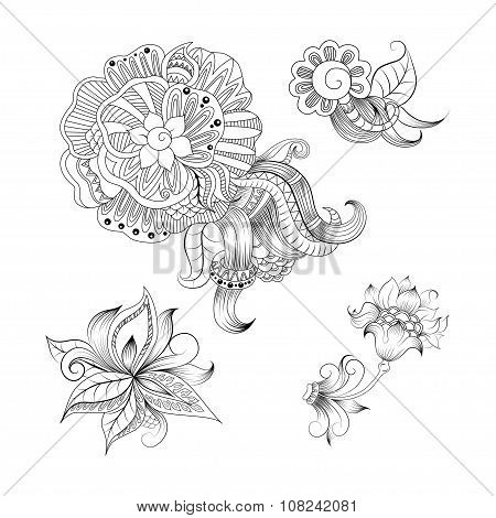 Sketchy doodles decorative floral outline