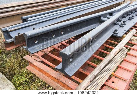 Steel Rails In Factory Warehouse