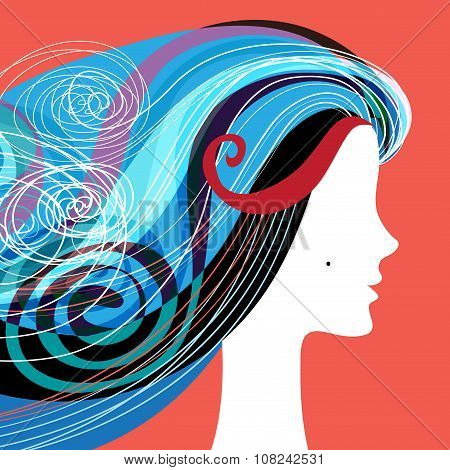 Woman silhouette with curly hair
