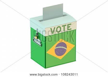 Voting Concept With Flag Of Brazil On Ballot Box