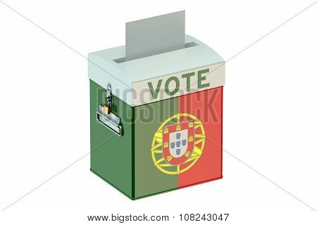 Voting Concept With Flag Of Portugal On Ballot Box