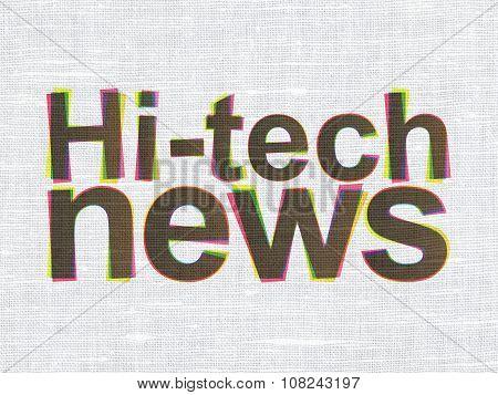 News concept: Hi-tech News on fabric texture background