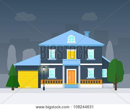 Big house with evening or night landscape.