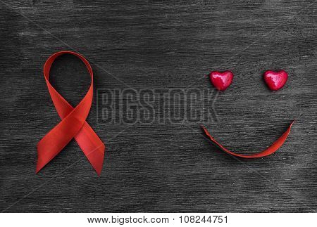 Aids Ribbon And Happy Face