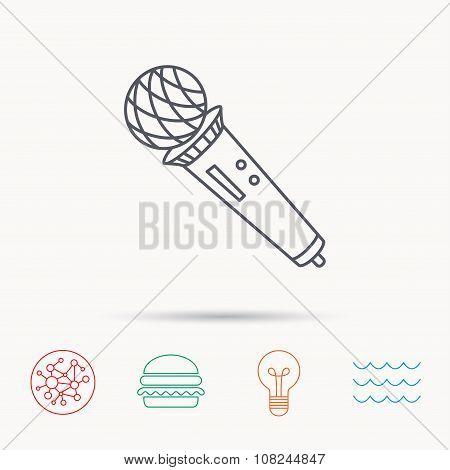Microphone icon. Karaoke sign.
