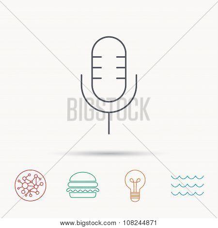 Retro microphone icon. Karaoke sign.