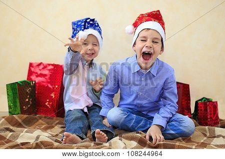 children frolic at Christmas