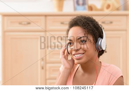 Positive  girl listening to music