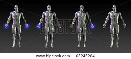 Hand Recovery or Rehabilitation with Blue Glow