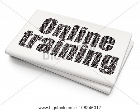 Education concept: Online Training on Blank Newspaper background