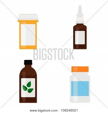 Medicine bottles icons.