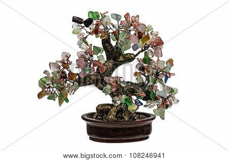 Decorative Tree From Natural Semiprecious Stones Isolated On White Background