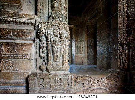 Entrance To Hindu Temple With Carving Wall