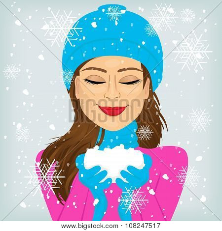 woman holding snow