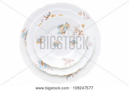 Set Of Antique Porcelain Plates
