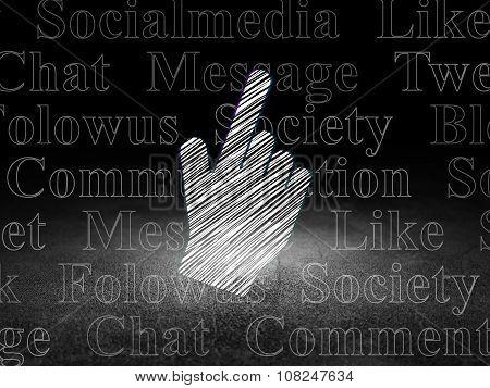 Social media concept: Mouse Cursor in grunge dark room