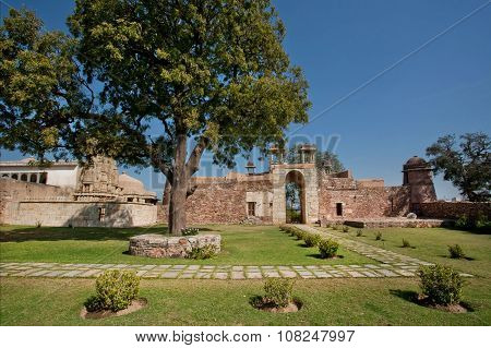 Trees In Courtyard Of Royal Palace Of The Chittorgarh Fort, Rajasthan.