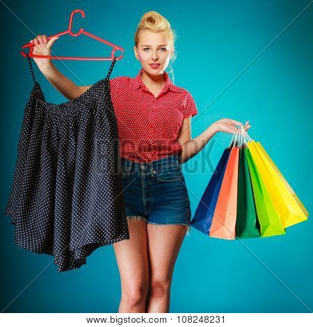 Pinup Girl Buying Clothes Black Skirt. Sale Retail