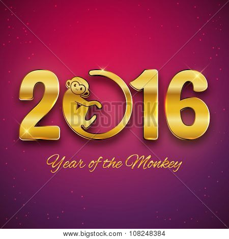 New Year Postcard Design, Gold Text With Monkey Symbol, Year Of The Monkey 2016 Design, Postcard, Gr