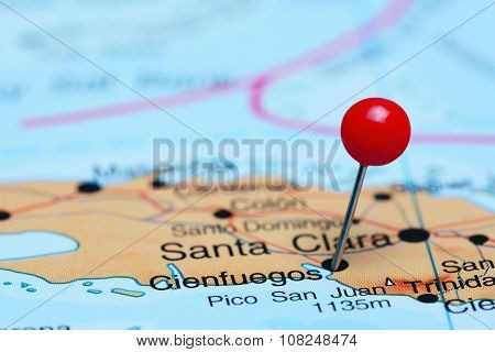 Cienfuegos pinned on a map of America
