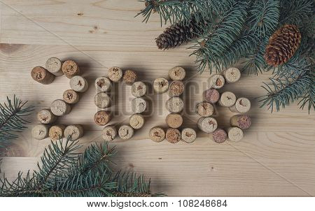 Wine Corks And Pine Branches. Christmas Decorations