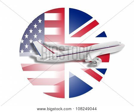 Plane, United States and Great Britain flags.