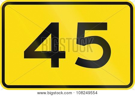 New Zealand Road Sign - Advisory Speed Of 45 Kmh
