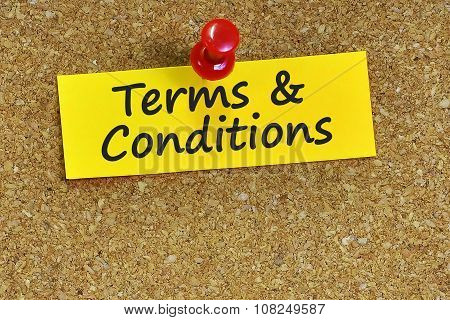 Terms & Conditions  Word On Notes Paper With Cork Background