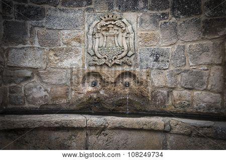 ancient water fountain in Atienza town, Guadalajara, Spain