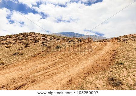 landscape of red sandstone in blue sky,  no body