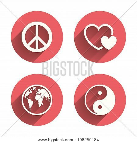 World globe icon. Ying yang sign. Hearts love.