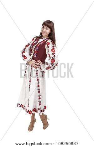 Full Length Shot Of Happy Smiling Brunette Woman Posing In Unique Hand-made Flowery National Costume