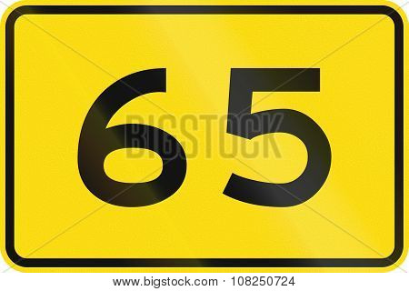 New Zealand Road Sign - Advisory Speed Of 65 Kmh