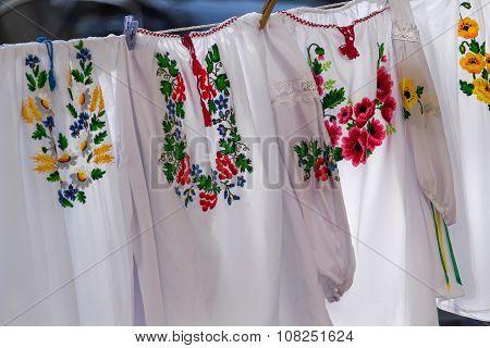Embroideries On The Clothesline. Ukrainian Folk Costumes