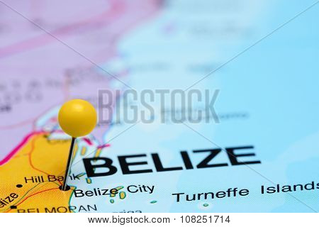 Belize City pinned on a map of America