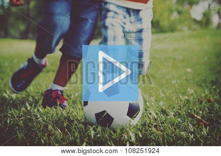 Play Button Multimedia Entertainment Beginning Concept