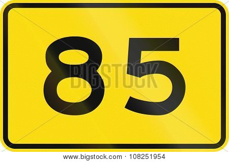 New Zealand Road Sign - Advisory Speed Of 85 Kmh