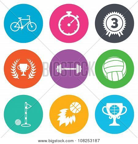 Sport games, fitness icon. Bike, basketball.