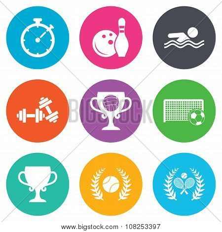 Sport games, fitness icon. Football, tennis.