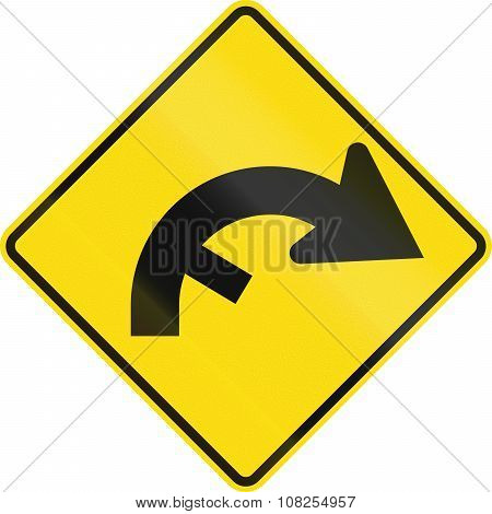 New Zealand Road Sign - Curve Between 90 And 120 Degrees, To Right With Hidden Exit