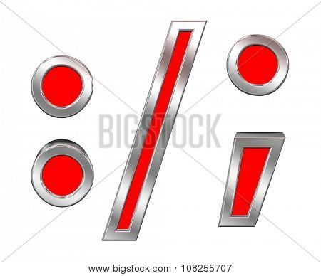Colon, semicolon, period, comma sign from red with chrome frame alphabet set, isolated on white. Computer generated 3D photo rendering.