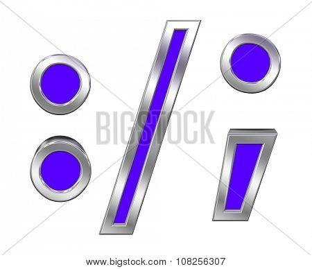 Colon, semicolon, period, comma sign from blue with chrome frame alphabet set, isolated on white. Computer generated 3D photo rendering.