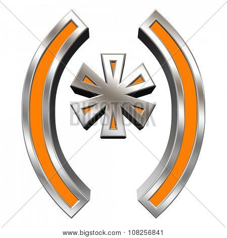 Parenthesis, asterisk from orange with chrome frame alphabet set, isolated on white. Computer generated 3D photo rendering.