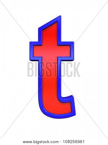 One lower case letter from red glass with blue frame alphabet set, isolated on white. Computer generated 3D photo rendering.