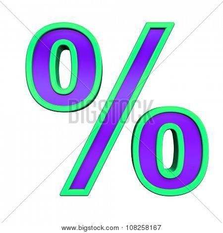 Percent sign from violet glass with green frame alphabet set, isolated on white. Computer generated 3D photo rendering.