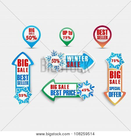 Winter discount cedule and labels background